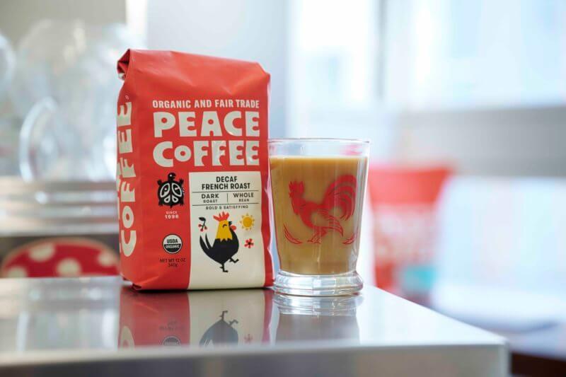 bag of organic dark roast decaf coffee as espresso