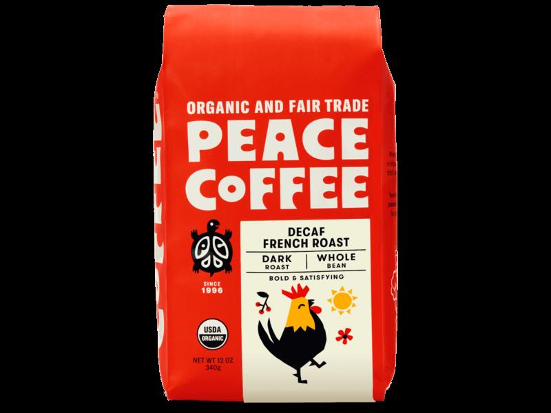 bag of organic dark roast decaf coffee