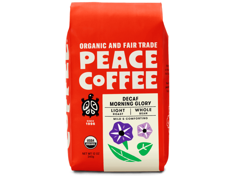a bag of light roast decaf coffee