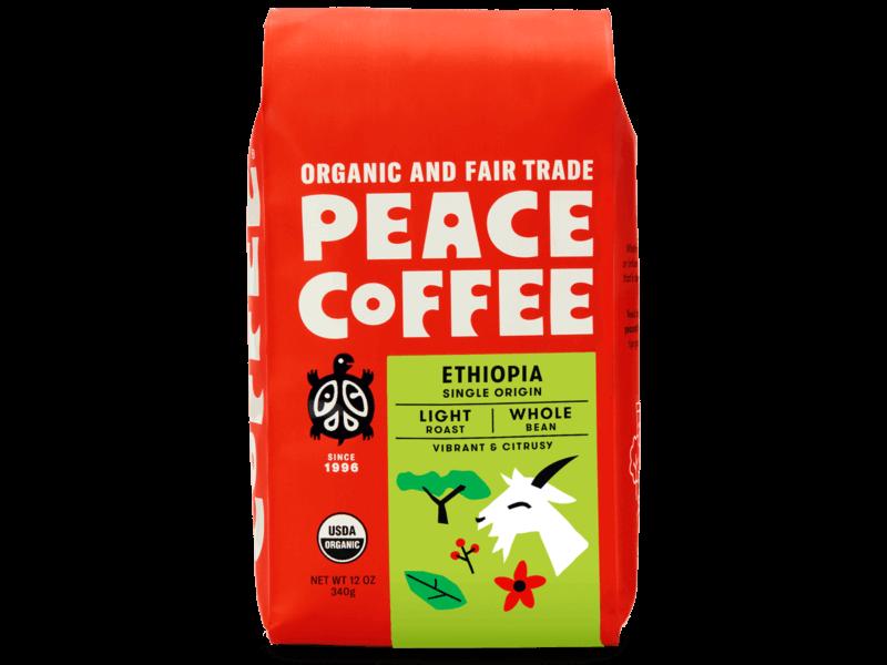 bag of light roast organic coffee from Ethiopia