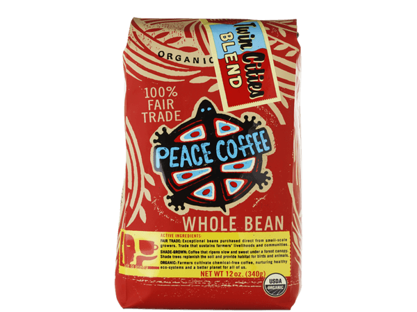 Twin Cities dark roast fair trade coffee bag