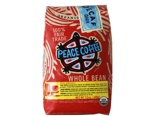 Organic dark roast decaf coffee bag